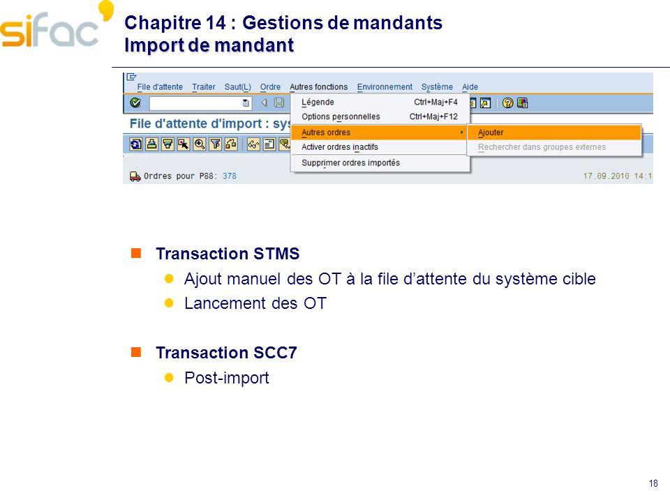 18 Import de mandant Chapitre 14 : Gestions de mandants Import de mandant Transaction STMS Ajout manuel des OT à la file dattente du système cible Lan