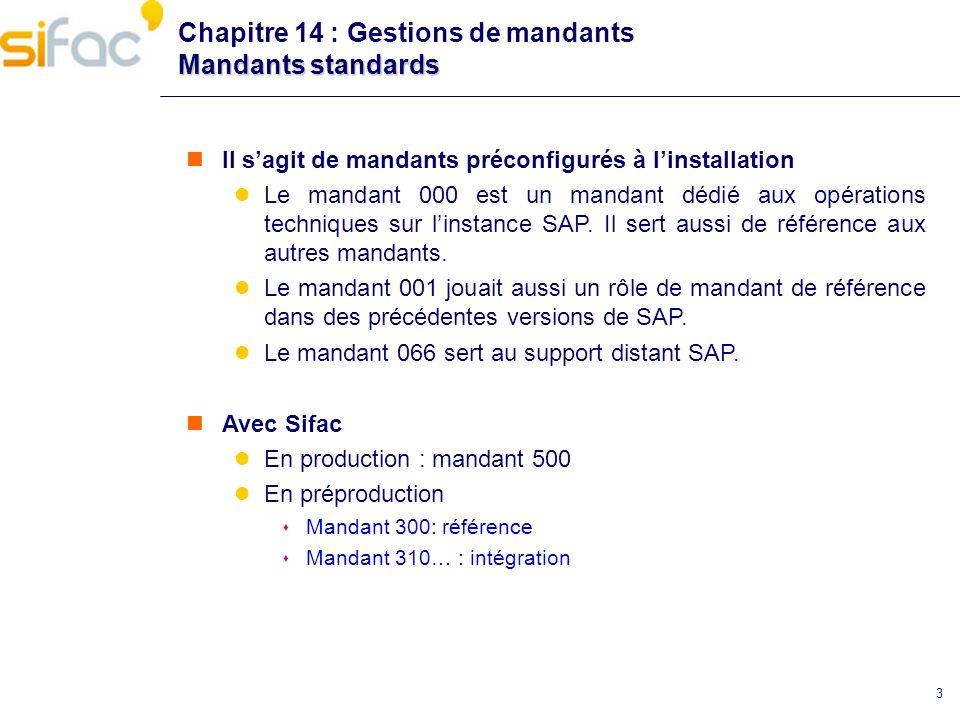 14 Copie distante Chapitre 14 : Gestions de mandants Copie distante Transaction SCC9 Utile pour copie de production vers pré production.
