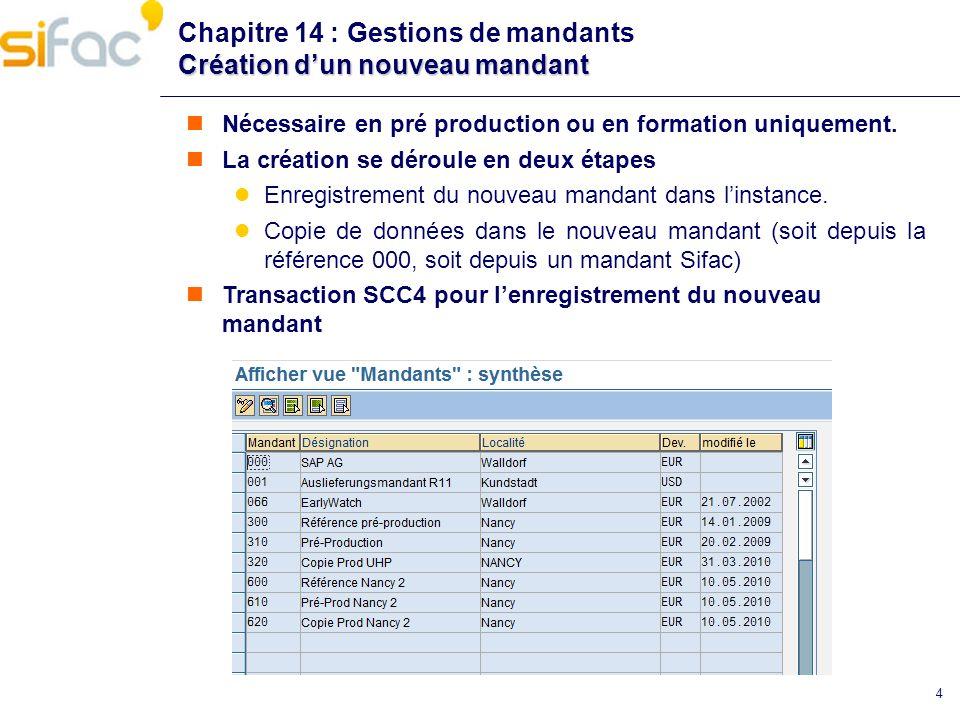 4 Création dun nouveau mandant Chapitre 14 : Gestions de mandants Création dun nouveau mandant Nécessaire en pré production ou en formation uniquement