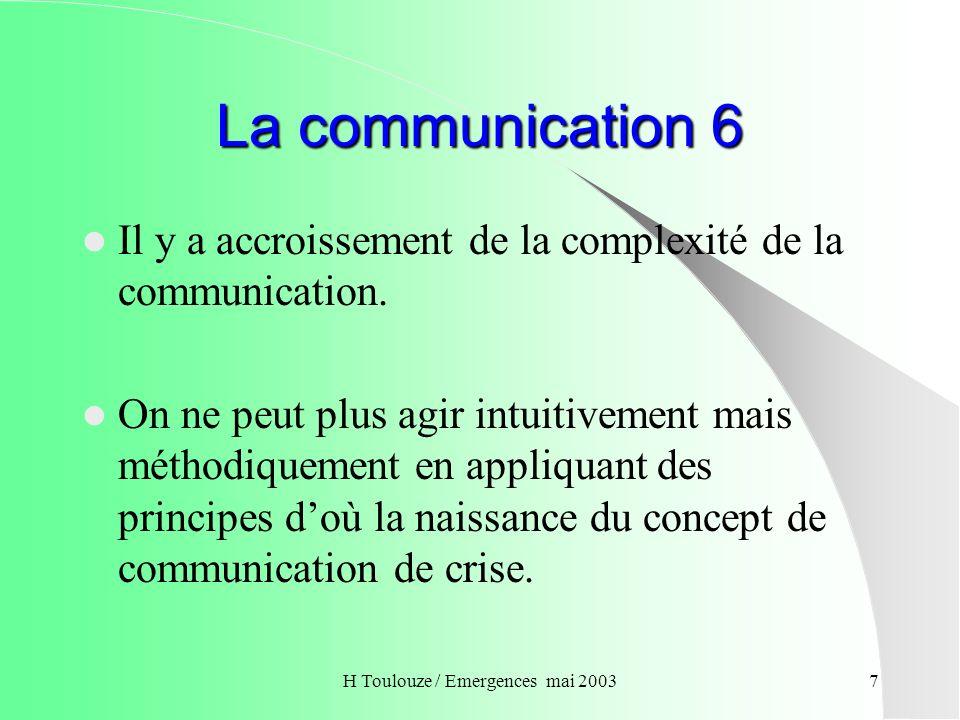 H Toulouze / Emergences mai 20038 La communication 7 Le gestionnaire de crise doit se poser quatre questions fondamentales : Quoi dire .