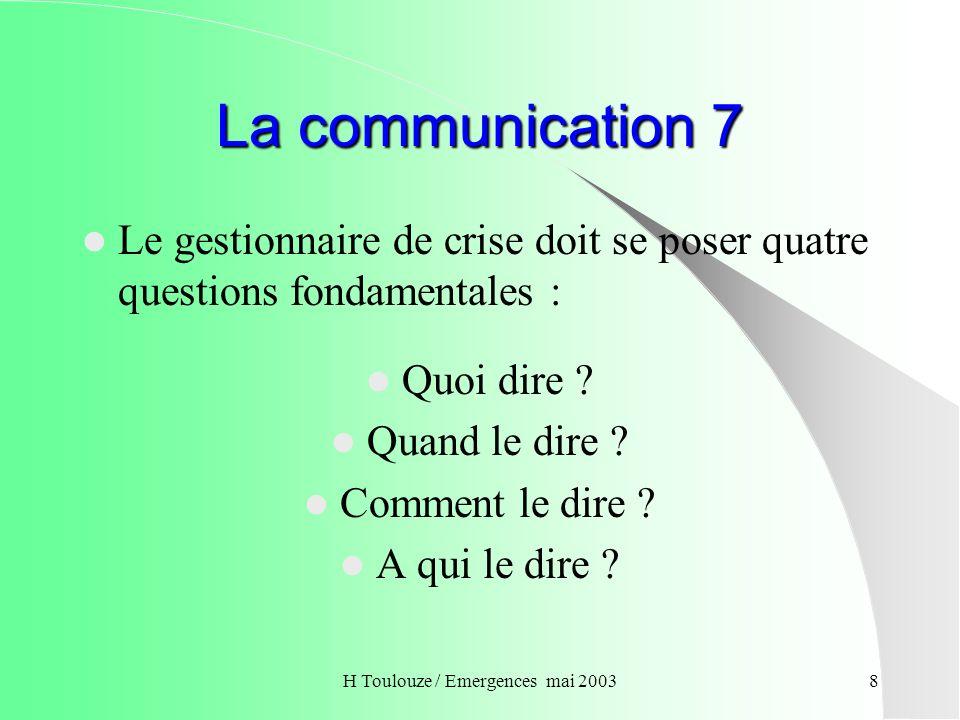 H Toulouze / Emergences mai 20039 La complexite de la communication Au-delà des consignes à respecter, deux éléments importants sont à prendre en compte : Limprévisibilité des comportements ; La crainte des mises en cause des responsabilités.