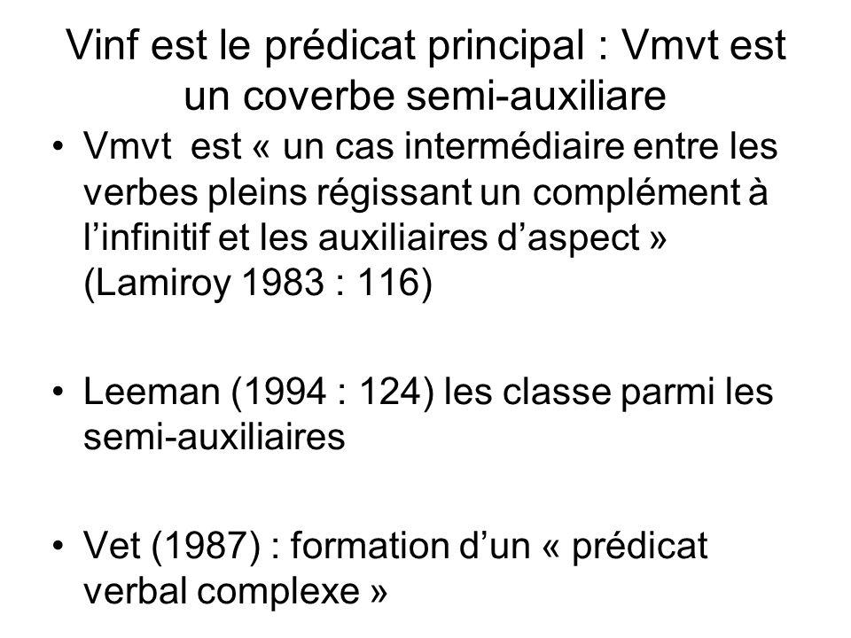 Vinf est le prédicat principal : Vmvt est un coverbe semi-auxiliare Vmvt est « un cas intermédiaire entre les verbes pleins régissant un complément à