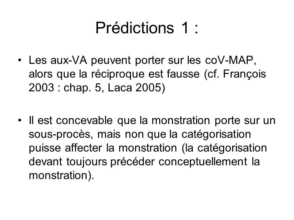Prédictions 1 : Les aux-VA peuvent porter sur les coV-MAP, alors que la réciproque est fausse (cf. François 2003 : chap. 5, Laca 2005) Il est concevab
