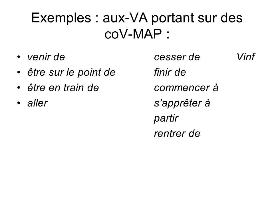 Exemples : aux-VA portant sur des coV-MAP : venir decesser deVinf être sur le point definir de être en train decommencer à allersapprêter à partir ren