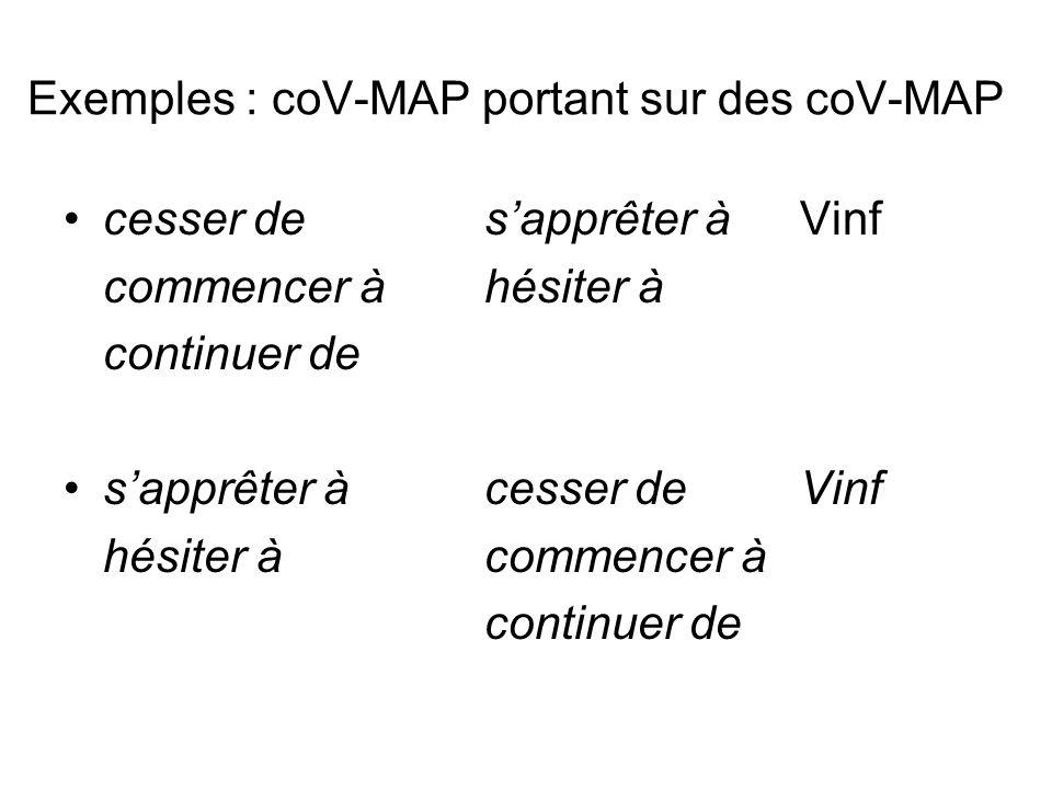 Exemples : coV-MAP portant sur des coV-MAP cesser desapprêter àVinf commencer àhésiter à continuer de sapprêter à cesser deVinf hésiter àcommencer à c