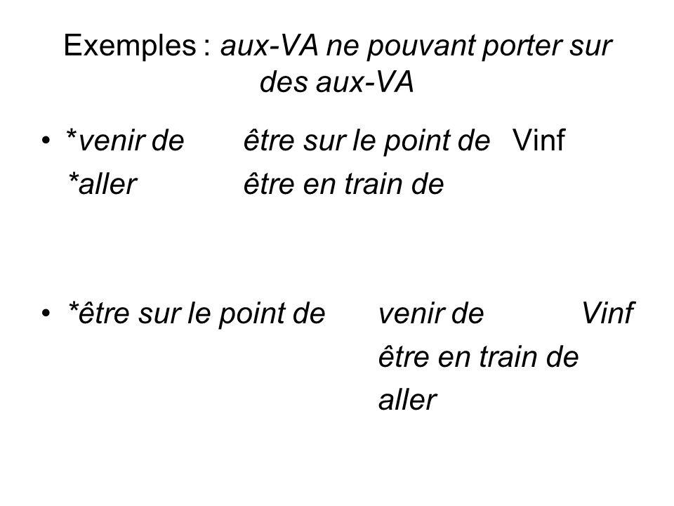 Exemples : aux-VA ne pouvant porter sur des aux-VA *venir deêtre sur le point deVinf *allerêtre en train de *être sur le point devenir deVinf être en