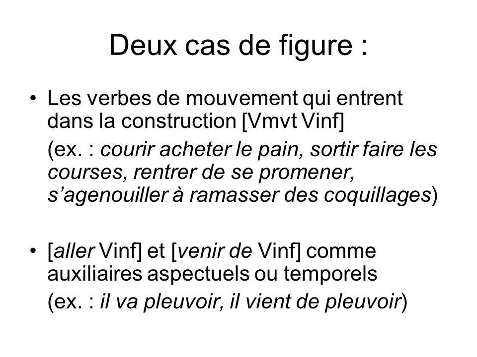 Deux cas de figure : Les verbes de mouvement qui entrent dans la construction [Vmvt Vinf] (ex. : courir acheter le pain, sortir faire les courses, ren