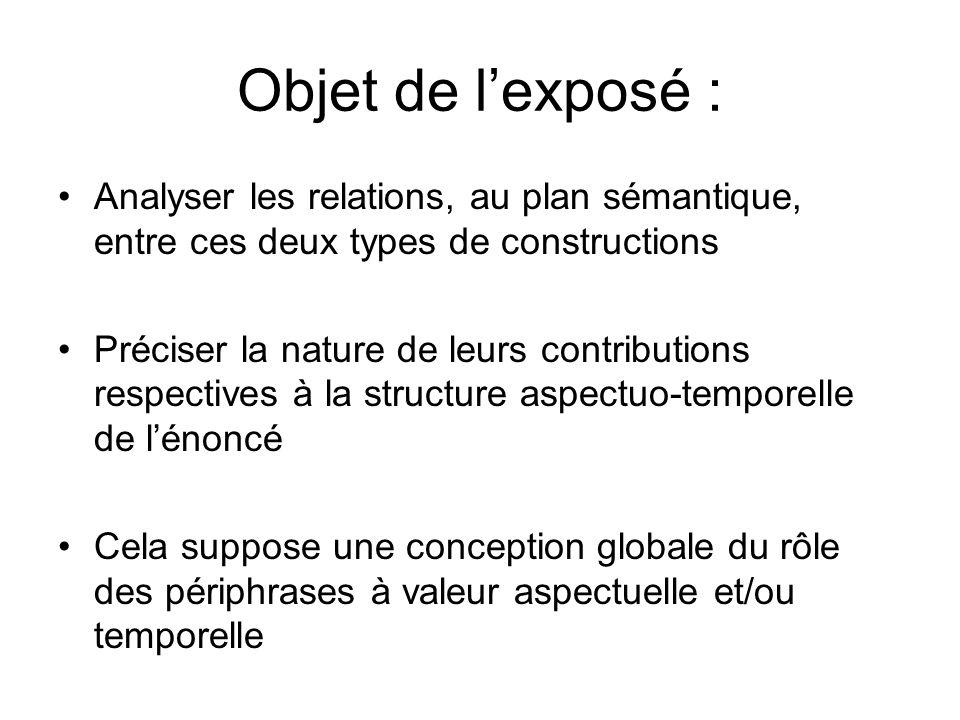 Objet de lexposé : Analyser les relations, au plan sémantique, entre ces deux types de constructions Préciser la nature de leurs contributions respect