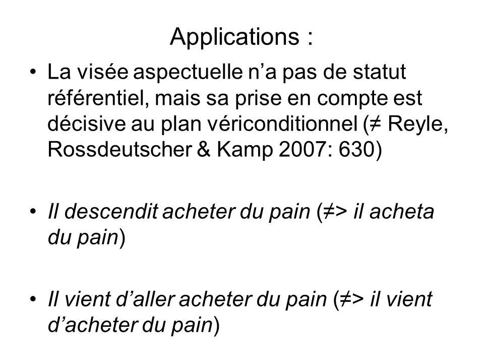 Applications : La visée aspectuelle na pas de statut référentiel, mais sa prise en compte est décisive au plan vériconditionnel ( Reyle, Rossdeutscher