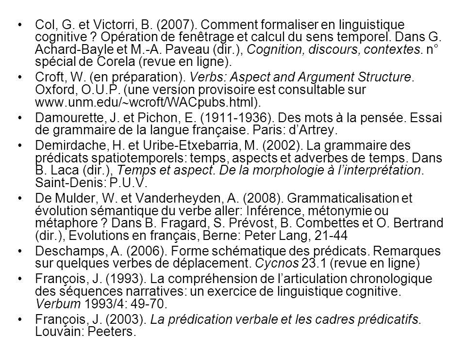 Col, G. et Victorri, B. (2007). Comment formaliser en linguistique cognitive ? Opération de fenêtrage et calcul du sens temporel. Dans G. Achard-Bayle