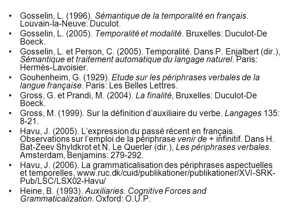 Gosselin, L. (1996). Sémantique de la temporalité en français. Louvain-la-Neuve: Duculot. Gosselin, L. (2005). Temporalité et modalité. Bruxelles: Duc