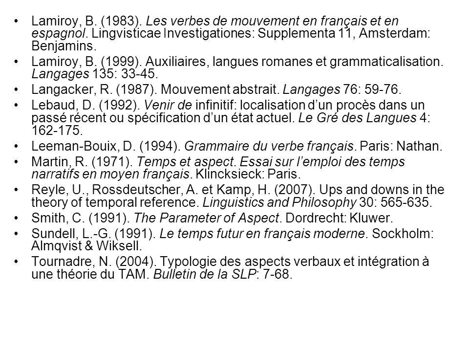 Lamiroy, B. (1983). Les verbes de mouvement en français et en espagnol. Lingvisticae Investigationes: Supplementa 11, Amsterdam: Benjamins. Lamiroy, B