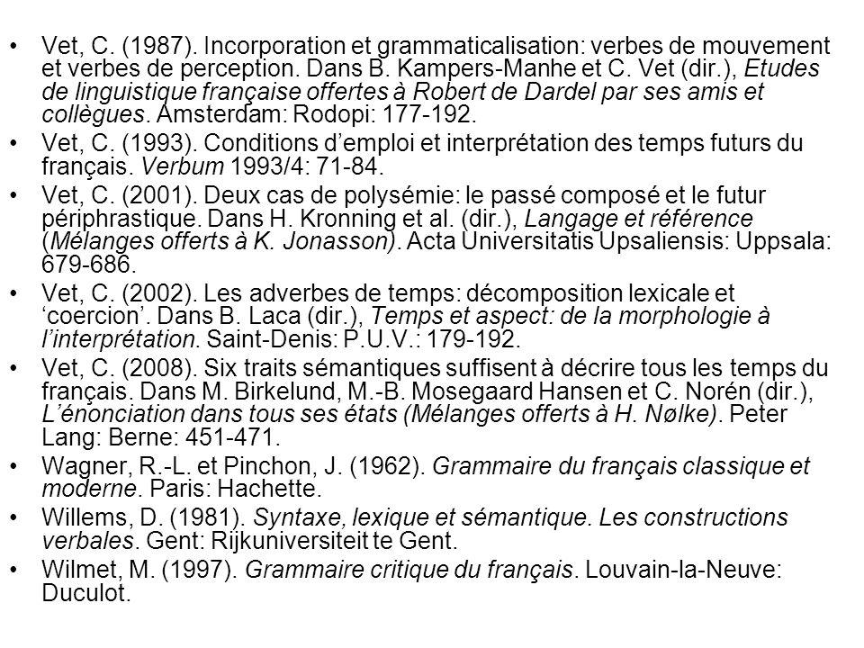 Vet, C. (1987). Incorporation et grammaticalisation: verbes de mouvement et verbes de perception. Dans B. Kampers-Manhe et C. Vet (dir.), Etudes de li