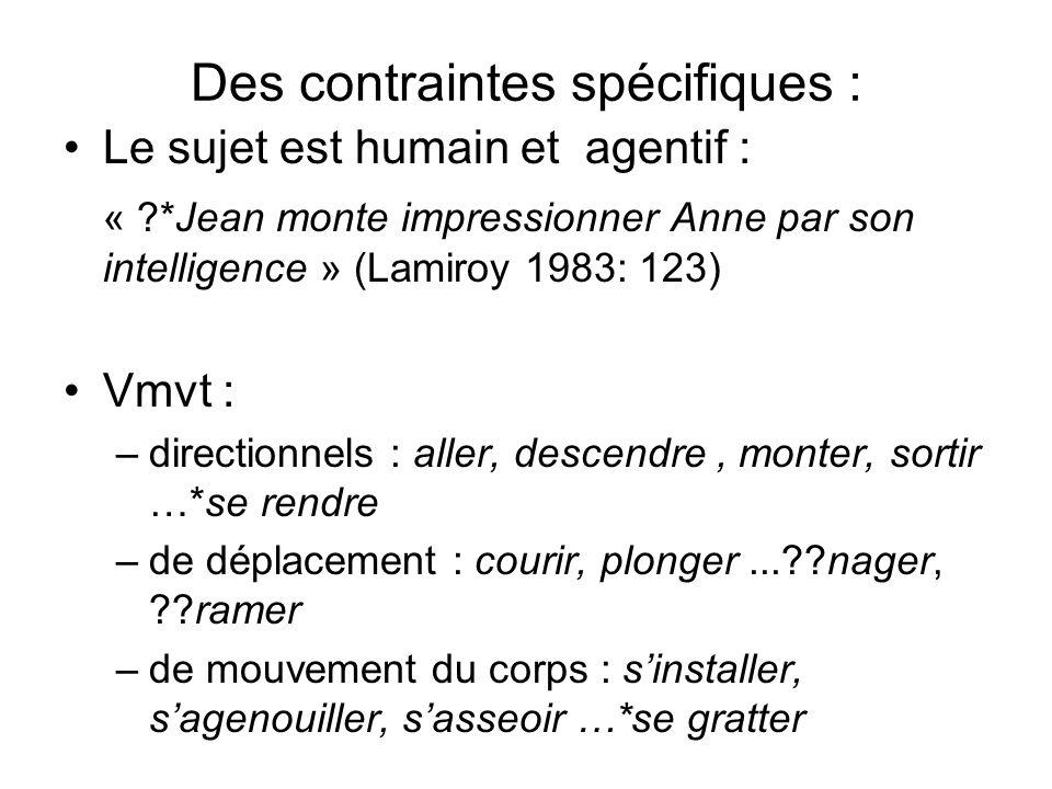 Des contraintes spécifiques : Le sujet est humain et agentif : « ?*Jean monte impressionner Anne par son intelligence » (Lamiroy 1983: 123) Vmvt : –di
