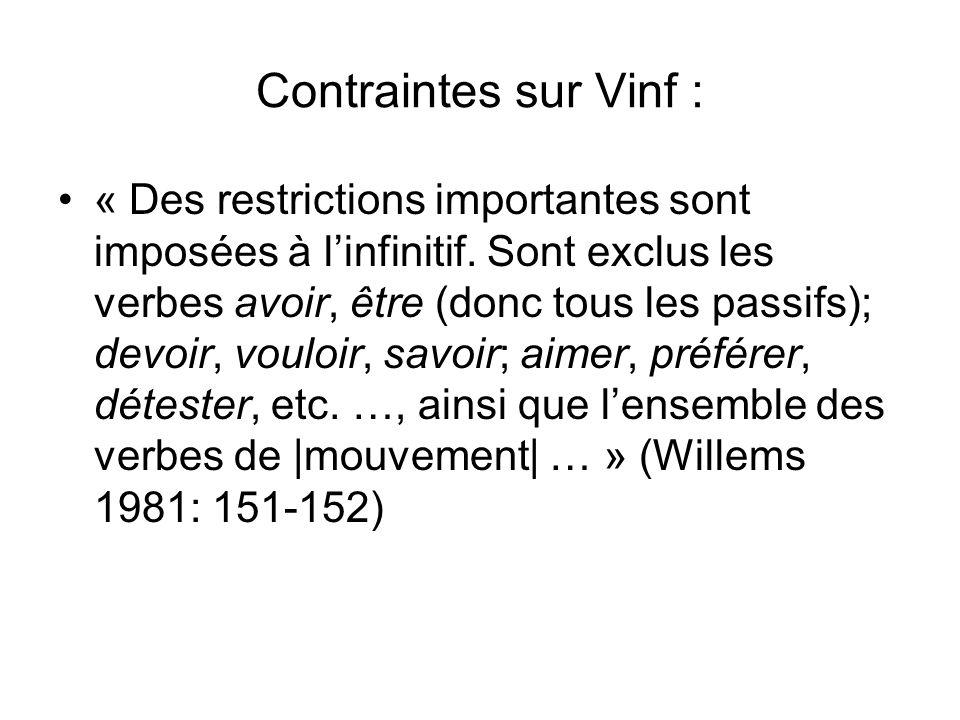 Vinf est le prédicat principal : Vmvt est un coverbe semi-auxiliare Vmvt est « un cas intermédiaire entre les verbes pleins régissant un complément à linfinitif et les auxiliaires daspect » (Lamiroy 1983 : 116) Leeman (1994 : 124) les classe parmi les semi-auxiliaires Vet (1987) : formation dun « prédicat verbal complexe »