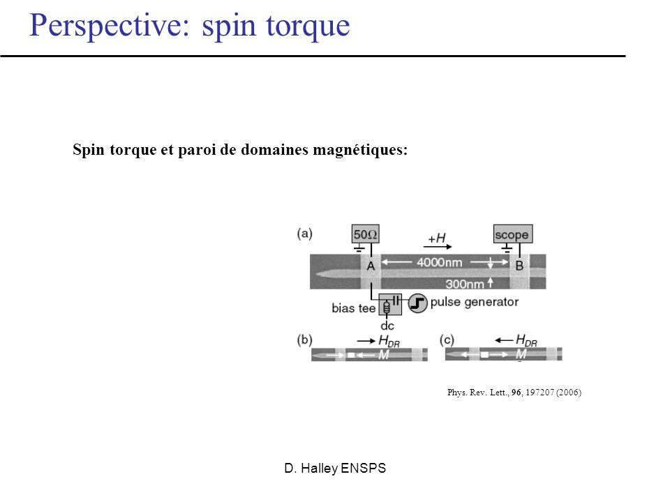 D. Halley ENSPS Ecrire des bits avec un courant fortement polarisé en spin: V e- Polarisation des électrons de conduction selon M 1 M1M1 Retournement