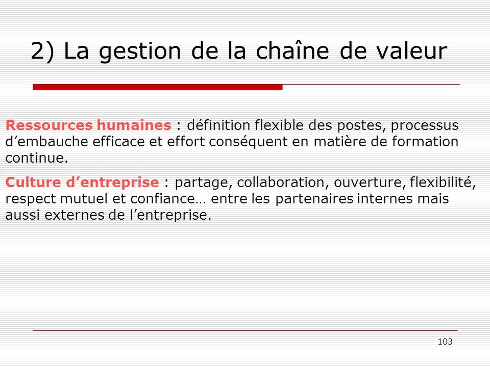 103 2) La gestion de la chaîne de valeur Ressources humaines : définition flexible des postes, processus dembauche efficace et effort conséquent en ma