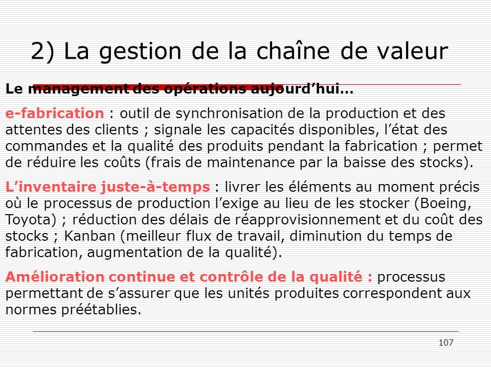 107 2) La gestion de la chaîne de valeur Le management des opérations aujourdhui… e-fabrication : outil de synchronisation de la production et des att