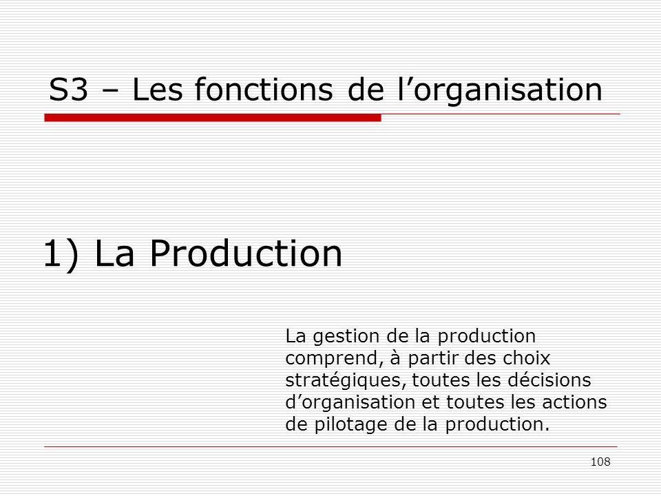 108 S3 – Les fonctions de lorganisation 1) La Production La gestion de la production comprend, à partir des choix stratégiques, toutes les décisions d