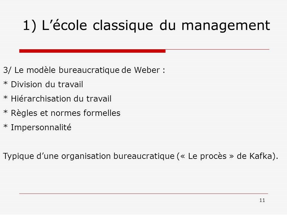 11 1) Lécole classique du management 3/ Le modèle bureaucratique de Weber : * Division du travail * Hiérarchisation du travail * Règles et normes form