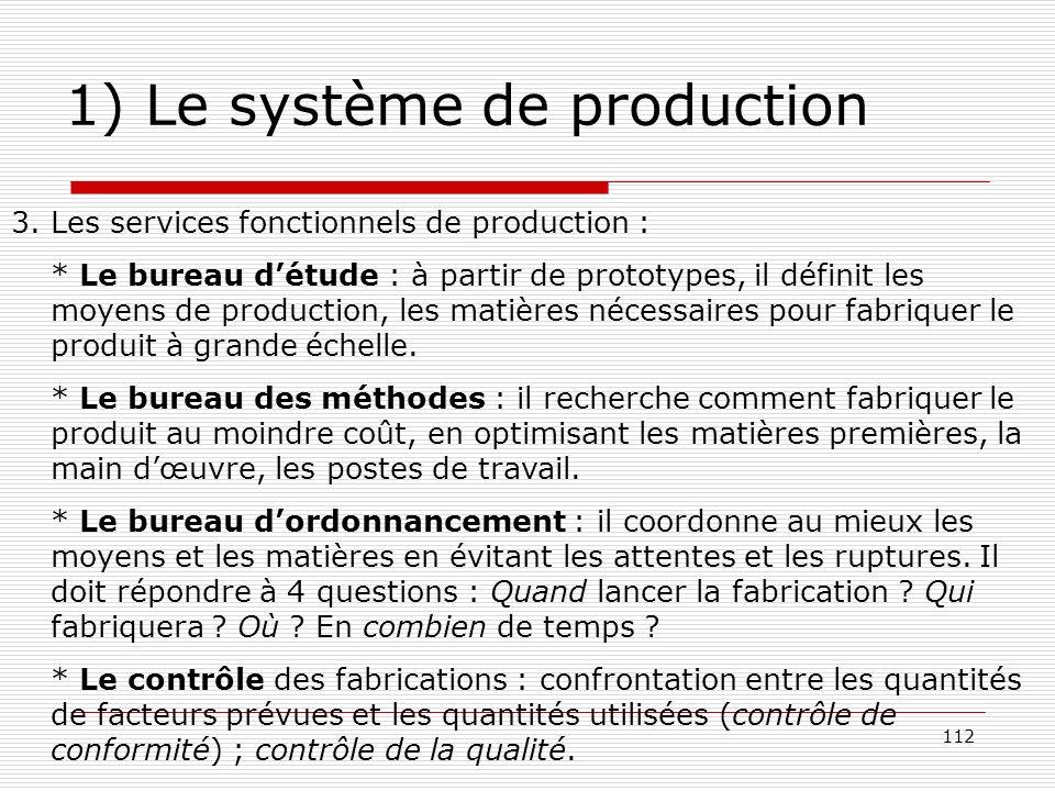 112 1) Le système de production 3. Les services fonctionnels de production : * Le bureau détude : à partir de prototypes, il définit les moyens de pro