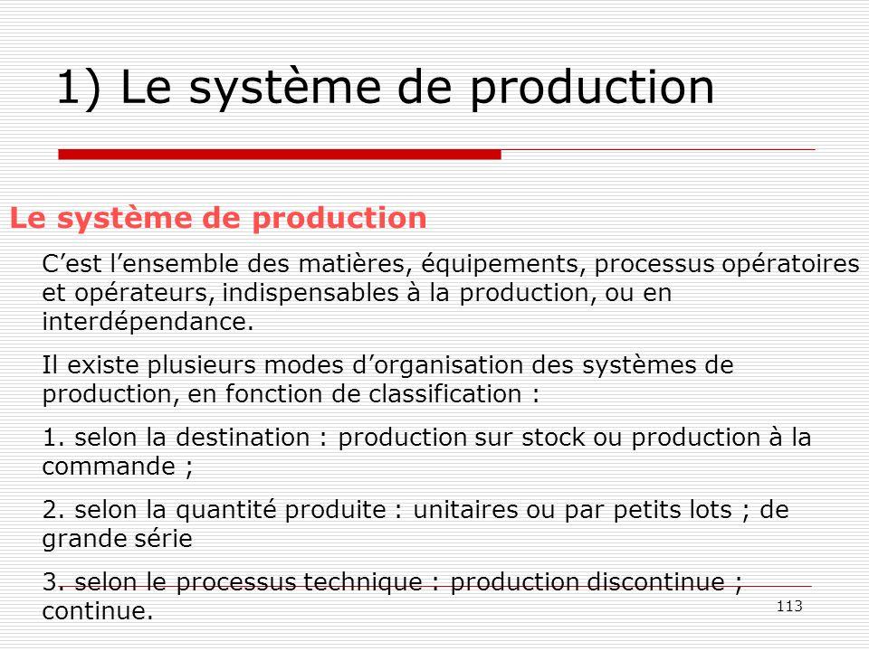 113 1) Le système de production Le système de production Cest lensemble des matières, équipements, processus opératoires et opérateurs, indispensables