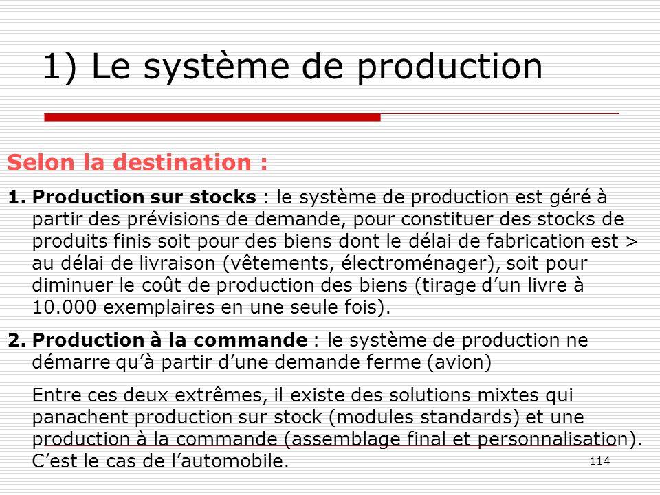 114 1) Le système de production Selon la destination : 1.Production sur stocks : le système de production est géré à partir des prévisions de demande,