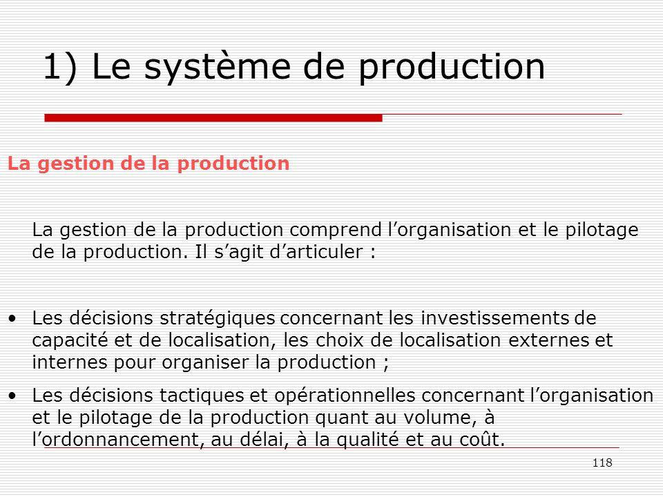 118 1) Le système de production La gestion de la production La gestion de la production comprend lorganisation et le pilotage de la production. Il sag