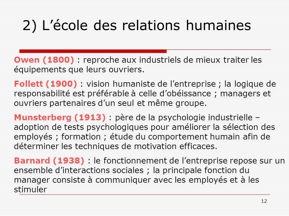 12 2) Lécole des relations humaines Owen (1800) : reproche aux industriels de mieux traiter les équipements que leurs ouvriers. Follett (1900) : visio