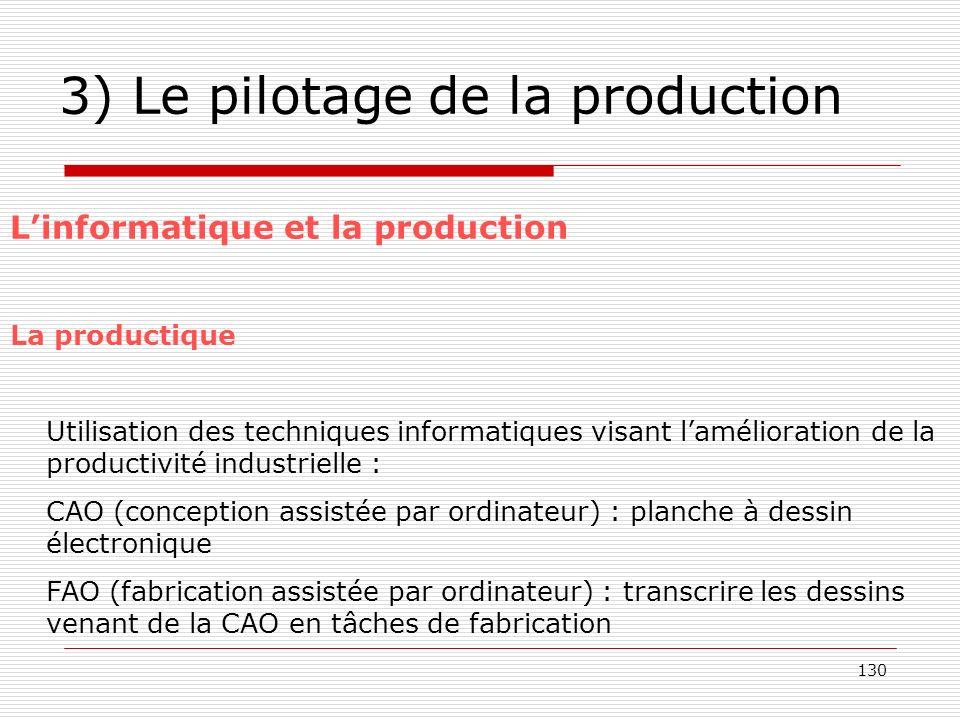 130 3) Le pilotage de la production Linformatique et la production La productique Utilisation des techniques informatiques visant lamélioration de la