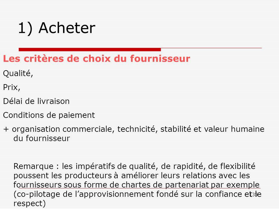 135 1) Acheter Les critères de choix du fournisseur Qualité, Prix, Délai de livraison Conditions de paiement + organisation commerciale, technicité, s