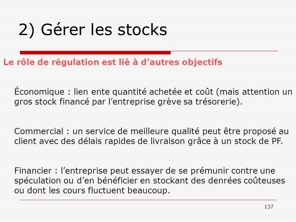 137 2) Gérer les stocks Le rôle de régulation est lié à dautres objectifs Économique : lien ente quantité achetée et coût (mais attention un gros stoc