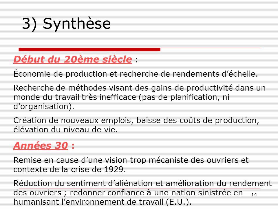 14 3) Synthèse Début du 20ème siècle : Économie de production et recherche de rendements déchelle. Recherche de méthodes visant des gains de productiv