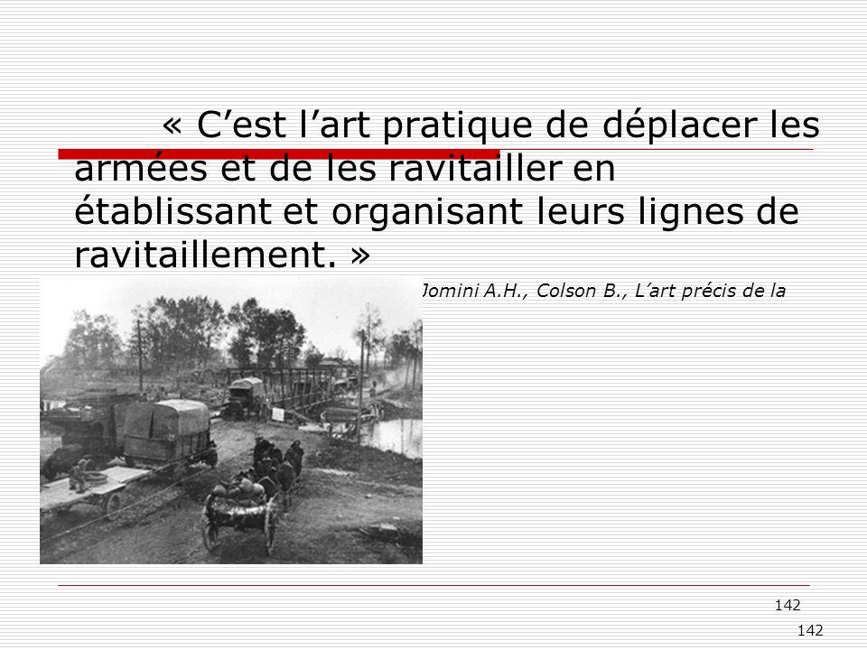 142 « Cest lart pratique de déplacer les armées et de les ravitailler en établissant et organisant leurs lignes de ravitaillement. » Jomini A.H., Cols