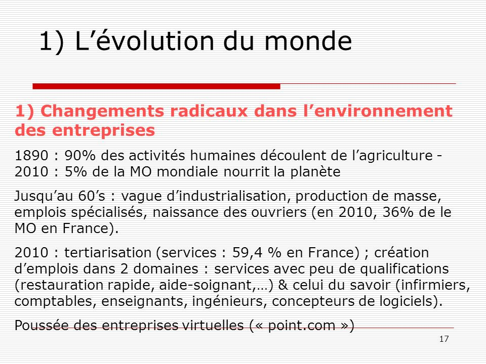 17 1) Lévolution du monde 1) Changements radicaux dans lenvironnement des entreprises 1890 : 90% des activités humaines découlent de lagriculture - 20