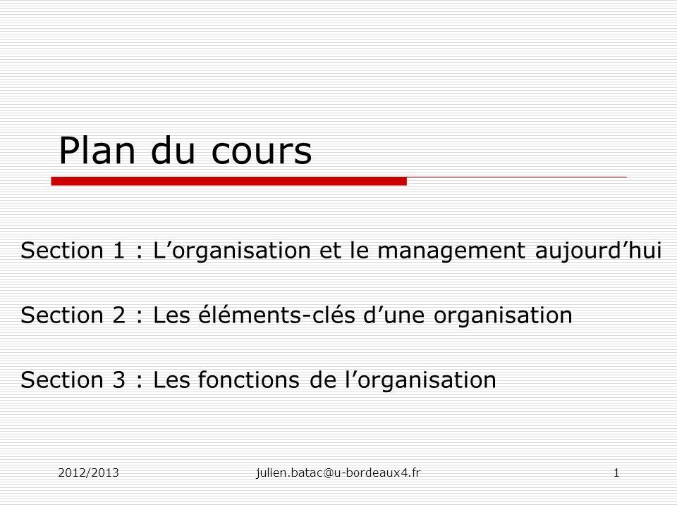 2012/2013julien.batac@u-bordeaux4.fr1 Plan du cours Section 1 : Lorganisation et le management aujourdhui Section 2 : Les éléments-clés dune organisat