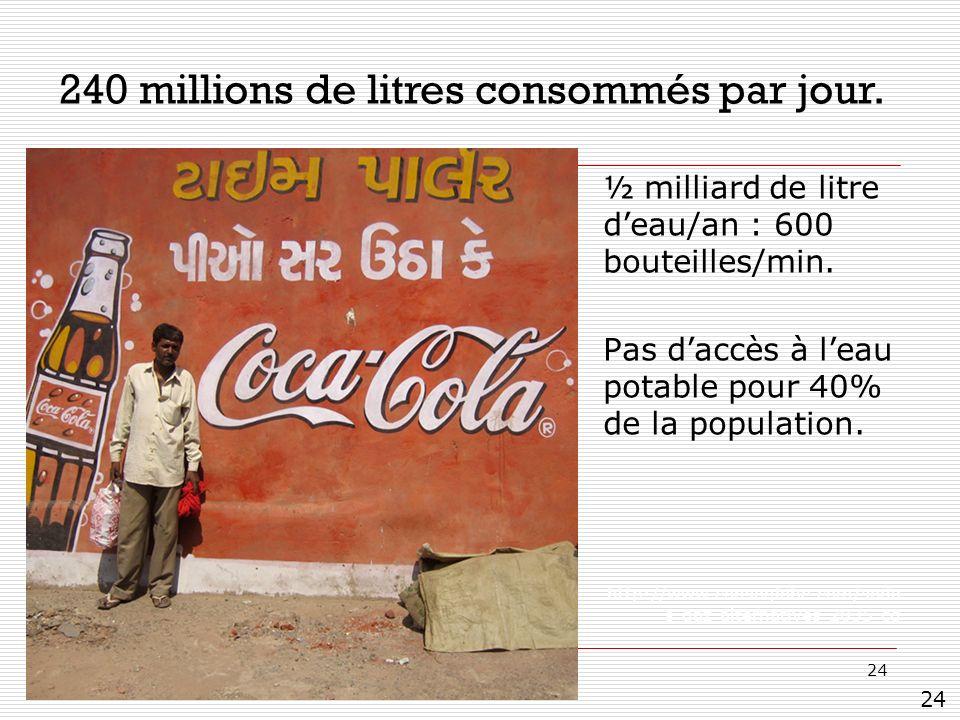 24 ½ milliard de litre deau/an : 600 bouteilles/min. Pas daccès à leau potable pour 40% de la population. http://www.consoglobe.com/soda s-gaz-alterna