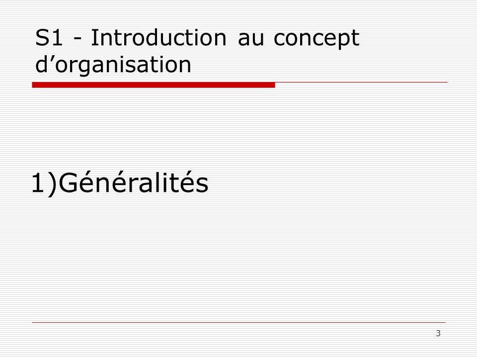 3 S1 - Introduction au concept dorganisation 1)Généralités