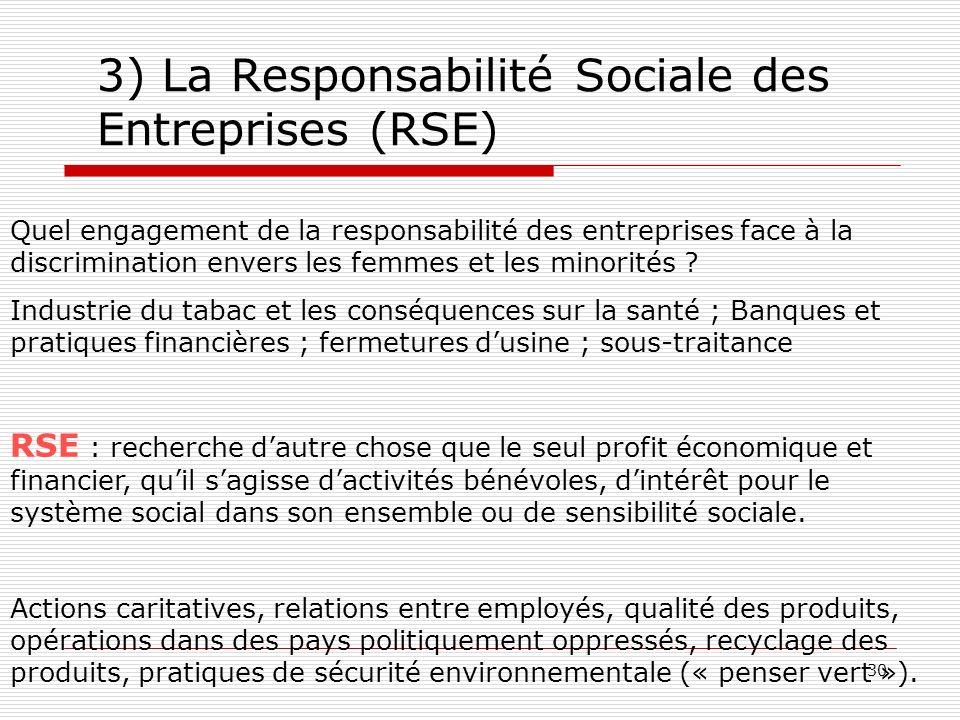 30 3) La Responsabilité Sociale des Entreprises (RSE) Quel engagement de la responsabilité des entreprises face à la discrimination envers les femmes