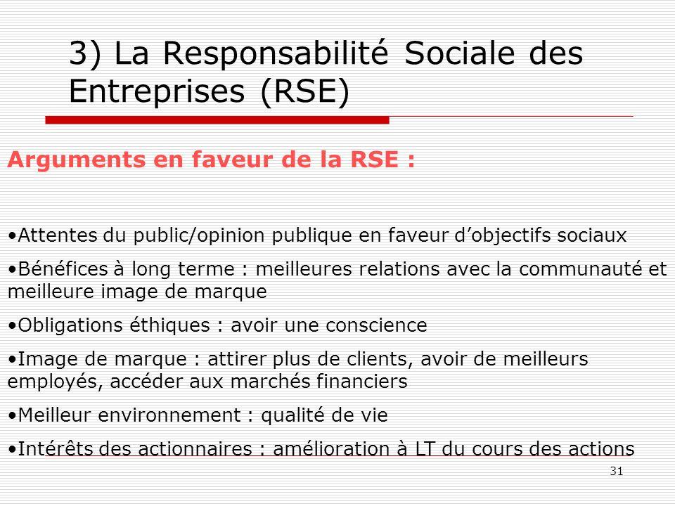31 3) La Responsabilité Sociale des Entreprises (RSE) Arguments en faveur de la RSE : Attentes du public/opinion publique en faveur dobjectifs sociaux