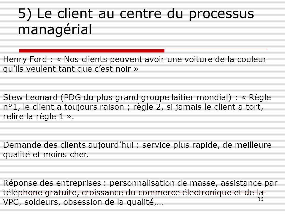 37 5) Le client au centre du processus managérial Les entreprises peuvent-elles améliorer le service à la clientèle .