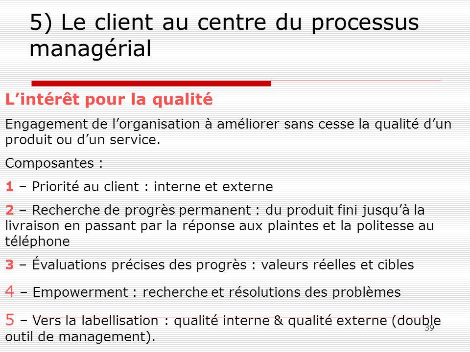 39 5) Le client au centre du processus managérial Lintérêt pour la qualité Engagement de lorganisation à améliorer sans cesse la qualité dun produit o