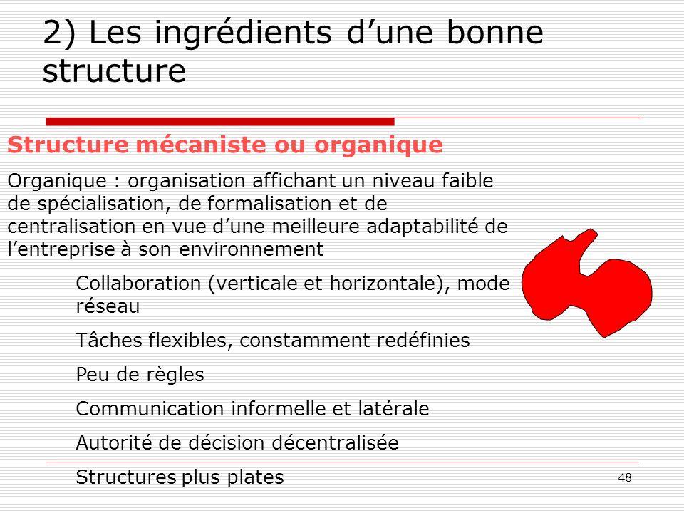 49 2) Les ingrédients dune bonne structure Le lien stratégie – structure Chandler (1962) : stratégie => structure Stratégie simple (1 seule gamme de produit) et organisation simple au départ.