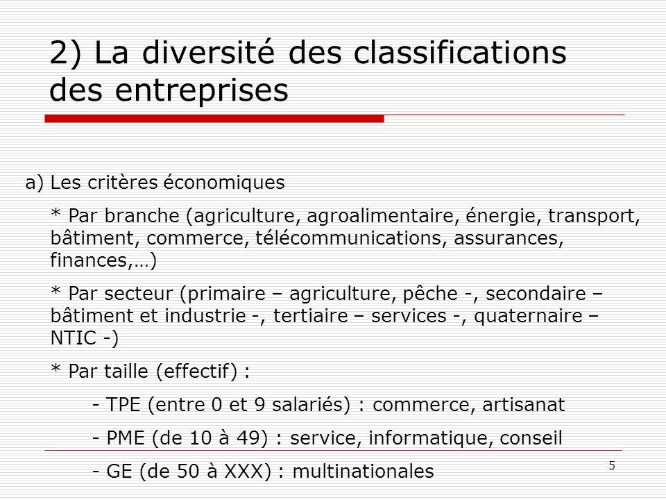 6 2) La diversité des classifications des entreprises Les critères juridiques * Le secteur public - sociétés publiques : bénéficient de la personnalité morale (EDF, RATP,…).