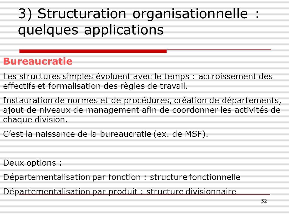 52 3) Structuration organisationnelle : quelques applications Bureaucratie Les structures simples évoluent avec le temps : accroissement des effectifs