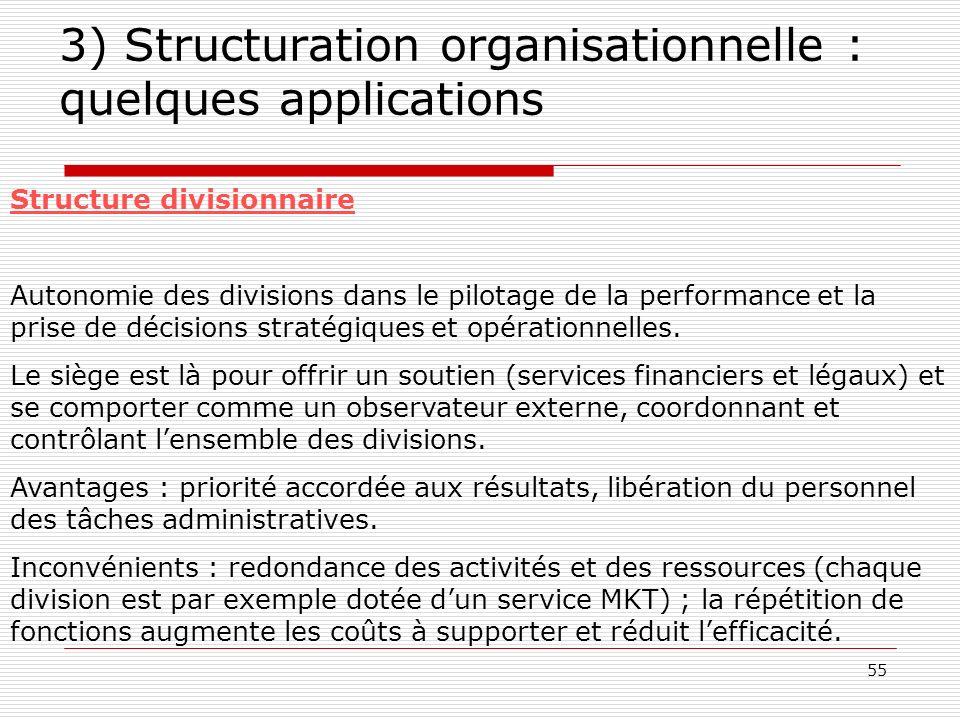 55 3) Structuration organisationnelle : quelques applications Structure divisionnaire Autonomie des divisions dans le pilotage de la performance et la