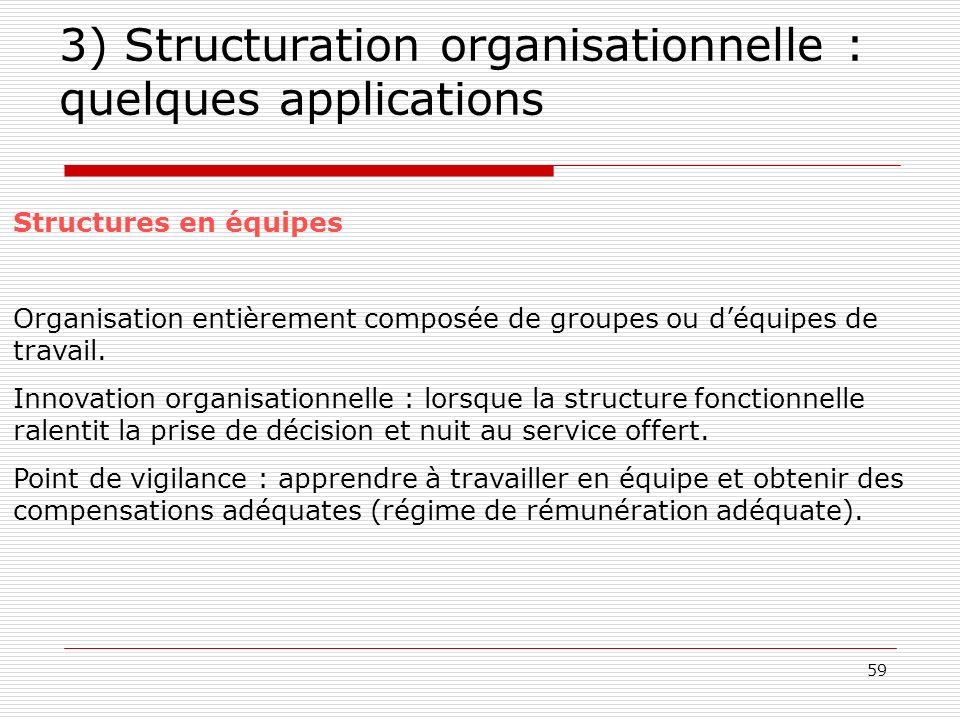 59 3) Structuration organisationnelle : quelques applications Structures en équipes Organisation entièrement composée de groupes ou déquipes de travai