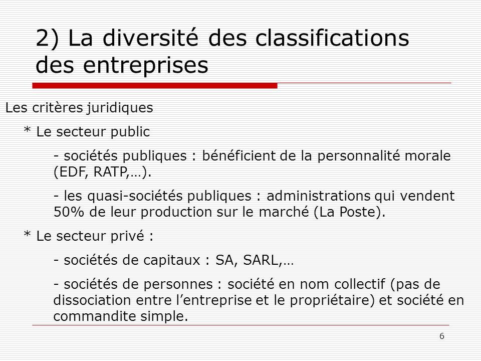 6 2) La diversité des classifications des entreprises Les critères juridiques * Le secteur public - sociétés publiques : bénéficient de la personnalit
