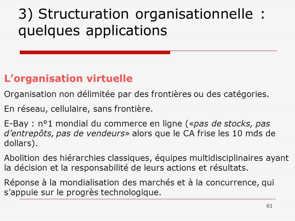 62 3) Structuration organisationnelle : quelques applications Le concept dorganisation apprenante Organisation ayant développé la capacité dévoluer en permanence grâce à la participation active de tous les membres dans lidentification et la résolution des problèmes liés au travail.