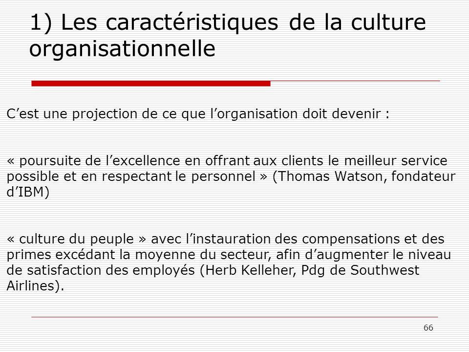 66 1) Les caractéristiques de la culture organisationnelle Cest une projection de ce que lorganisation doit devenir : « poursuite de lexcellence en of